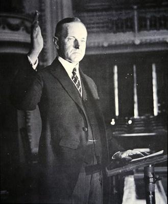 Calvin Coolidge (1873-1933) (b/w photo) by American Photographer, (20th century)