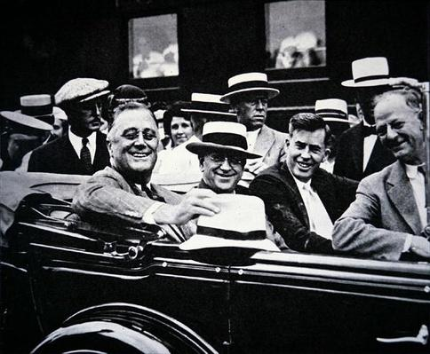 Franklin D. Roosevelt among his people, 1933 (b/w photo) by American Photographer, (20th century)