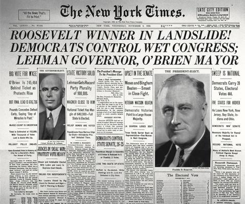 'Roosevelt Winner in Landslide Election', from the front page of 'The New York Times', 9th November 1932 (newsprint) by American School, (20th century)