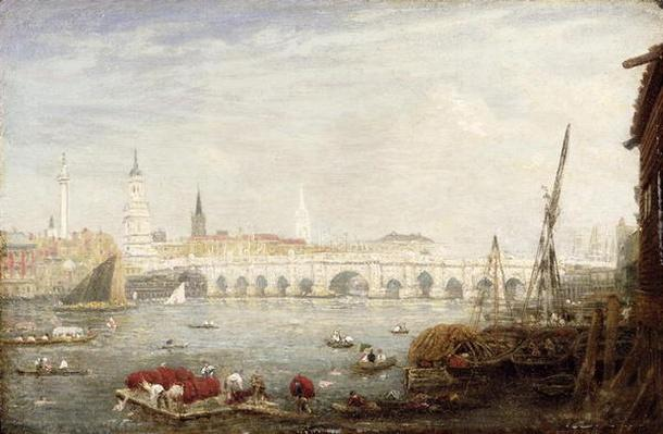 The Monument and London Bridge, c.1820-80