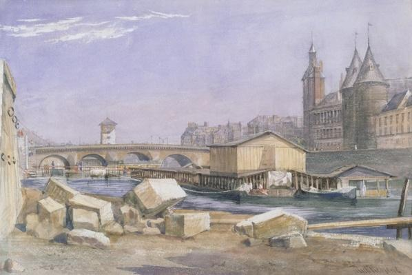 The Pont au Change and the Conciergerie, Paris, 1837