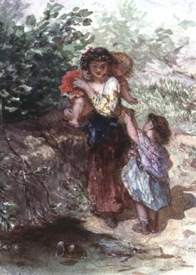 Girl standing with a Child on her Shoulders, another Child by her Side