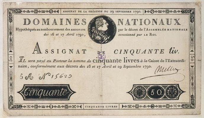 50 livres bank note, 29th October 1790