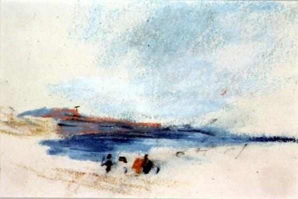 A Bay, with Blue Water and Figures in the foreground
