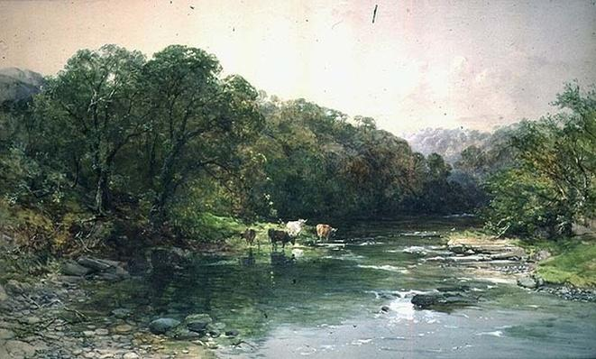On the Dee, North Wales: Cattle Drinking