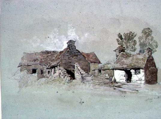 Cottages near Woodbridge, Suffolk, 19th century