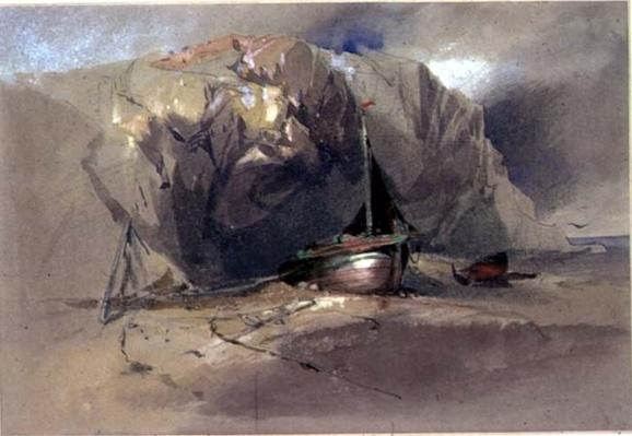 A Fishing Smack and a Small Boat drawn up on the Shore Beneath a Rocky Cliff, 19th century