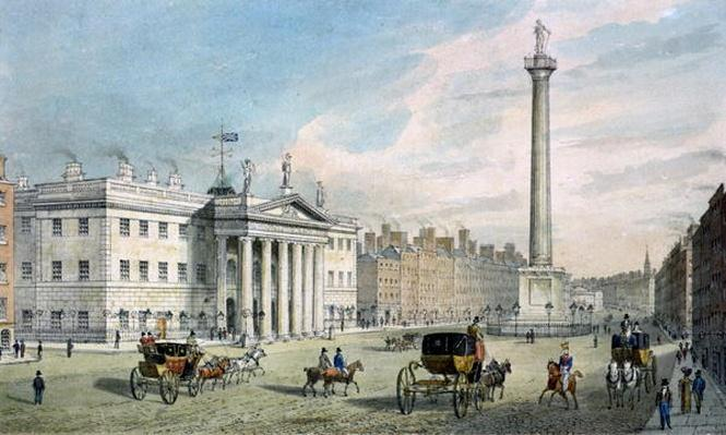 Sackville Street, Dublin, showing the Post Office and Nelson's Column