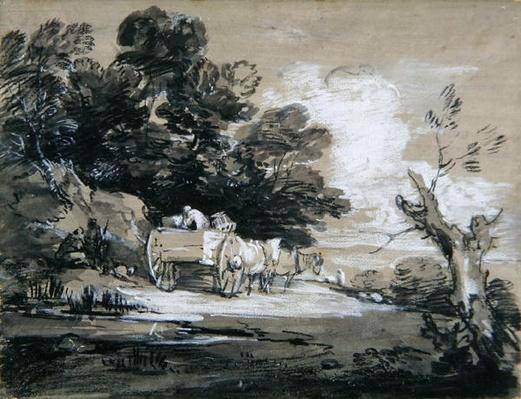 Wooded Landscape with Country Cart and Figures, c.1785-88