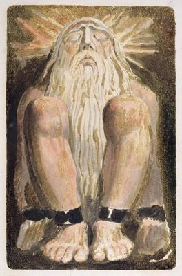 A naked man with a long, white beard, plate 3 from 'The First Book of Urizen', 1794