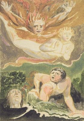 Four naked men emerging from their elements, plate 4 from 'The First Book of Urizen', 1794