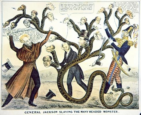 'Jackson slaying the many headed monster', 1828 (colour litho) by American School, (19th century)
