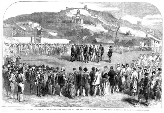 Evacuation of the Crimea by the Allies, the Ceremony at Ordinance Wharf, Balaclava, from the Illustrated London News, 30 August 1856