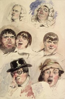 Sheet of Studies of Seven Heads