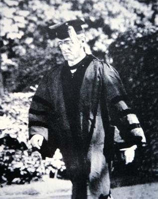 Woodrow Wilson (1856-1924) in academic robes (b/w photo) by American Photographer, (20th century)