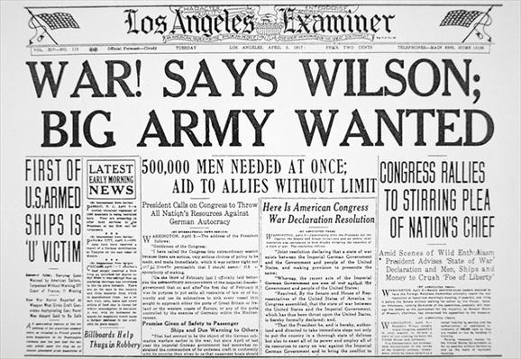 'War! says Wilson; Big Army Wanted', front page of the 'Los Angeles Examiner', 3rd April 1917 (print) by American School, (20th century)