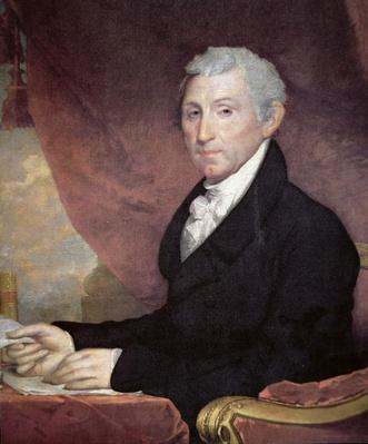 James Monroe (1758-1831) (colour litho) by Stuart, Gilbert (1755-1828)