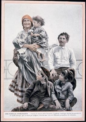 Poster of a European immigrant family on Ellis Island, 1910