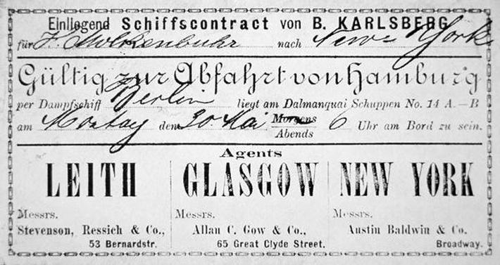A German immigrant ship's contract & boarding card for New York, issued in Hamburg, 1881
