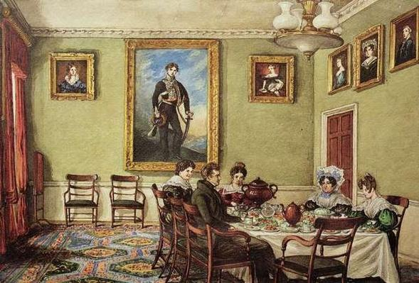 Dining room at Langton Hall, family at breakfast, c.1832-3