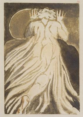 'A white haired man in a long, pale robe who flees from us with his hands raised', plate 28 from 'The First Book of Urizen', 1794