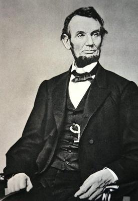 Abraham Lincoln (1809-65) 1864 (b/w photo) by Brady, Mathew (1823-96)