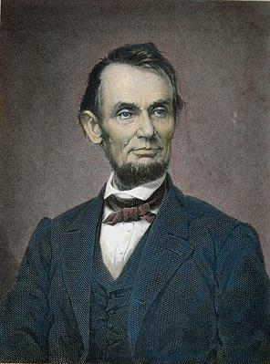Abraham Lincoln (1809-65) 1864 (coloured engraving) by American School, (19th century)