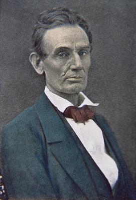 Abraham Lincoln (1809-65) c.1860 (tinted photo) by American Photographer, (19th century)