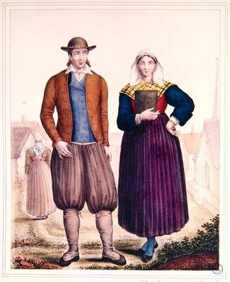 Peasants from Saint-Lyphard, from 'Les Costumes Bretons de Charpentier'