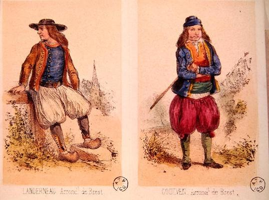 Male costumes from Landerneau and Goulven, from 'Les Costumes Bretons de Sorrieu'