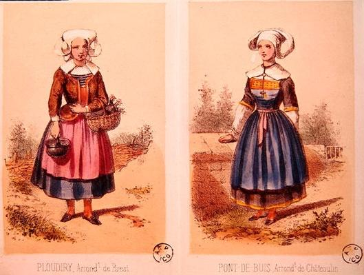 Female costumes from Ploudiry and Pont de Buis, from 'Les Costumes Bretons de Sorrieu'