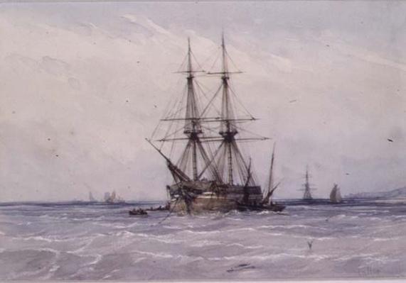 Brig at Anchor and Boats alongside