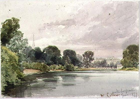 West End of the Serpentine, Kensington Gardens, 1877