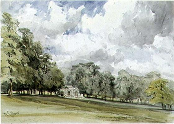 View in Kensington Gardens showing the Temple Cottage