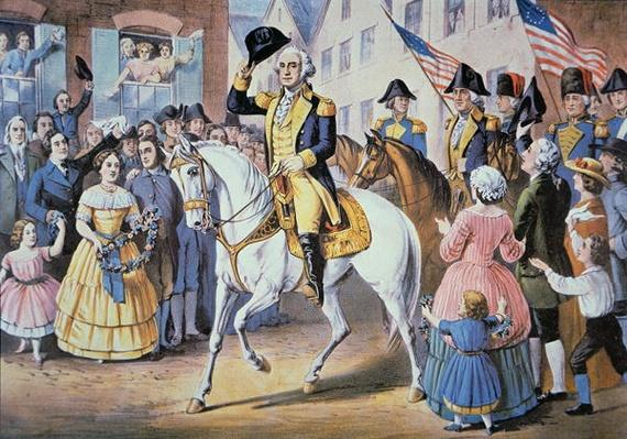 George Washington enters New York City 25 November, 1783 after the evacuation of British forces (colour litho) by American School, (19th century)