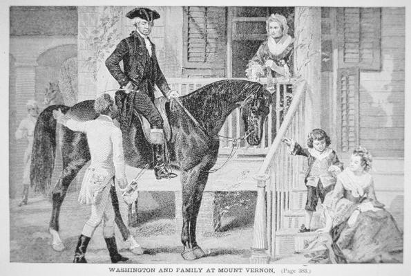 George Washington and family at Mount Vernon, Virginia (litho) by American School, (19th century)