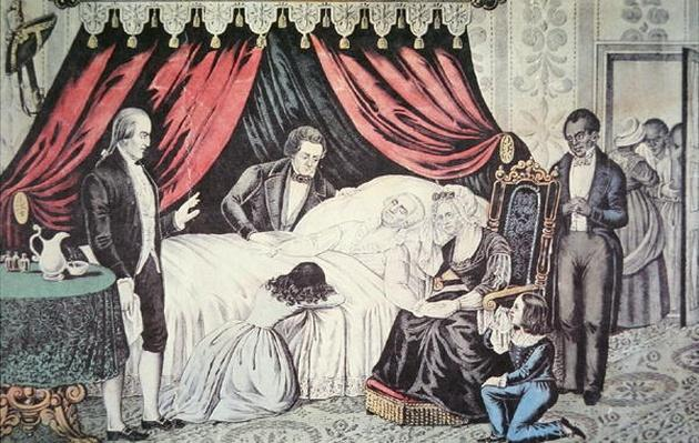 The death of George Washington, 14 December 1799 (colour litho) by American School, (19th century)