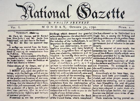The report of the Address given by George Washington to Congress, 25 October, 1791, published in the National Gazette 31 October, 1791 (print) by American School, (18th century)