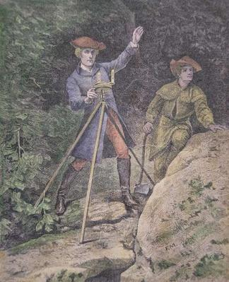 George Washington as a surveyor in Virginia, aged 21 (colour litho) by American School, (19th century)