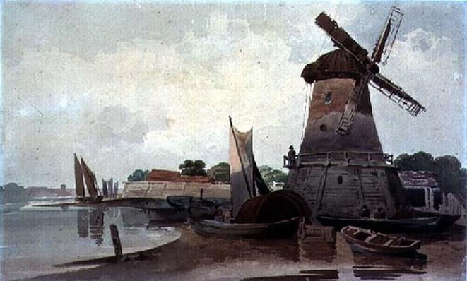 View on the Thames, with Windmill and Boats