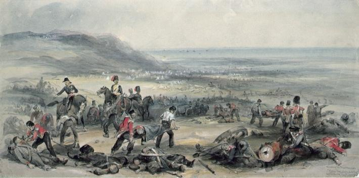 Removing the Dead and Wounded after the Battle of the Alma during the Crimean War, 20 September, 1854