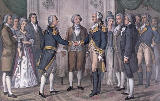 The First Meeting of General George Washington (1732-99) and the Marquis de La Fayette (1757-1834) (colour litho) by Currier, N. (1813-88) & Ives, J.M.(1824-95) (after)