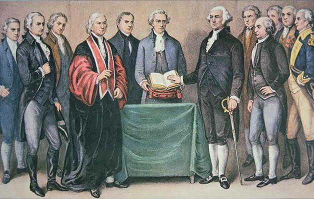 The Inauguration of President George Washington (1732-99) 30 April, 1789 at the Old City Hall, New York, NY, published 1876 (colour litho) by Currier, N. (1813-88) and Ives, J.M. (1824-95)