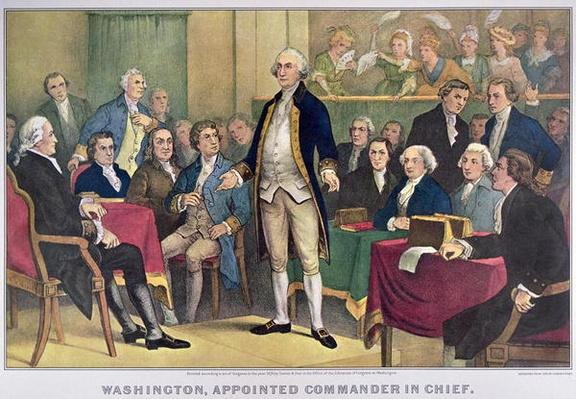 George Washington (1732-99) Appointed Commander in Chief, published 1876 (colour litho) by Currier, N. (1813-88) and Ives, J.M. (1824-95)