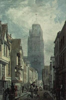 Redcliffe Street, Bristol, showing the Tower of the Church of St.Mary Redcliffe