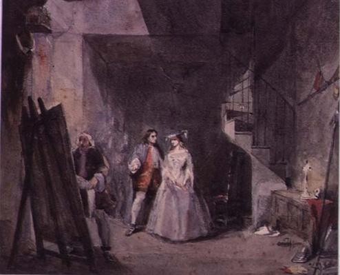 Interior of an artist's studio with figures in 18th century costume