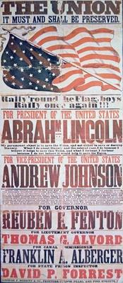 Electoral campaign poster for Abraham Lincoln (1809-65) for President and Andrew Johnson (1808-75) for Vice President, 1864 (colour litho) by American School, (19th century)