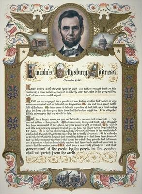 The Gettysburg Address, delivered by Abraham Lincoln (1809-65) by American School, (19th century)