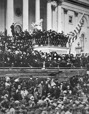 Abraham Lincoln (1809-65) delivering his second Inaugural Address as President of the United States on 4th March, 1865 (b/w photo) by American Photographer, (19th century)
