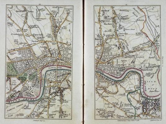 Map of East London, plates 20-21, from 'Cary's Actual Survey of Middlesex', 1786